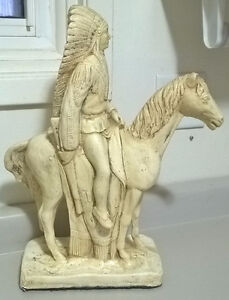 Vintage Native American Indian Horse Figurine Warrior Chief