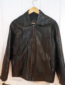 Mens black genuine leather jacket by SAKI leather
