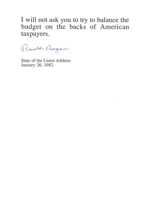 RONALD REAGAN - TYPED QUOTATION SIGNED