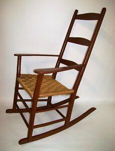 Chaise Berçante Antique Peinte - Antique Painted Rocking Chair