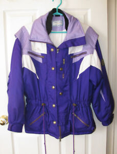 Ladies Size 8 Winter Jacket Purple & White Nice