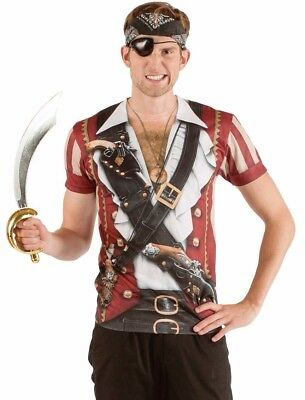 Adult Pirate Costume T-shirt Swashbuckler Tee Shirt Mens - S M L XL 2XL - (Pirate Adult Costume)