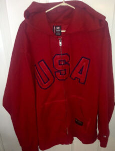 Ralph Lauren Polo Jeans USA Full Zip Red Hoodie Size XXL