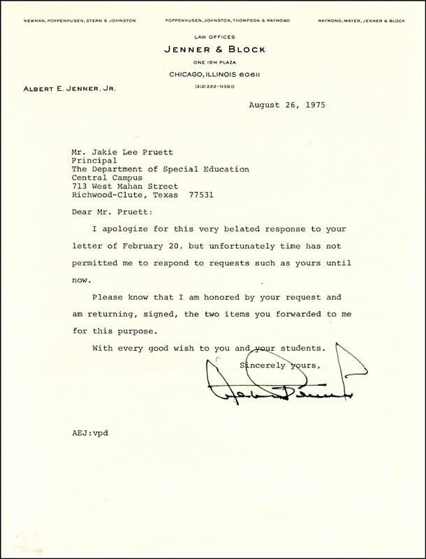 ALBERT E. JENNER - TYPED LETTER SIGNED 08/26/1975
