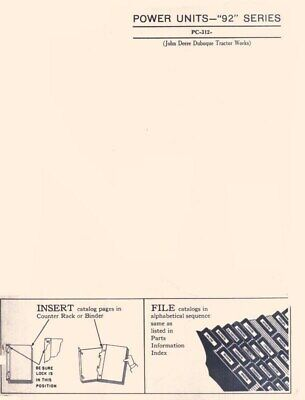 John Deere Model Ea-92 Series Power Unit Parts Manual Catalog Jd 312
