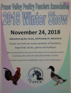 2018 WINTER POULTRY SHOW NOV.24TH ABBOTSFORD AG REC.
