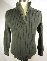 Harley Davidson Cotton 1/2 Zip Cotton Ribbed Sweater Gray Motorc
