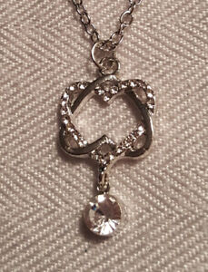White Gold Filled Double Heart Pendant with chain
