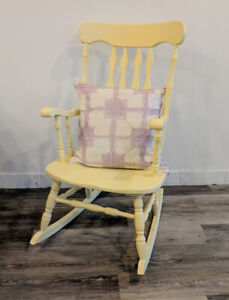 Solid Wood Rocking Chair in Soft Yellow