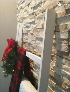 Rustic White Blanket Ladder with Christmas Greenery and Lights London Ontario image 4