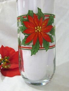 Vintage Christmas Poinsettia & Holly Glasses Drinkware Set of 4 Kitchener / Waterloo Kitchener Area image 2