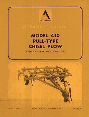 Allis Chalmers 410 Pull Chisel Plow Operators Manual
