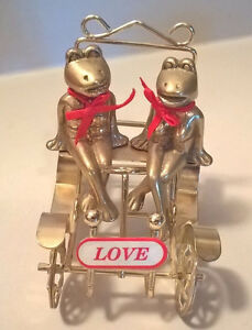 Brass Frogs In Their Brass Love Mobile with Red Bow Ties
