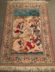 Persian silk 4' x 6' pictorial rug