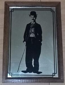 Vintage Charlie Chaplin Mirror Wooden Framed