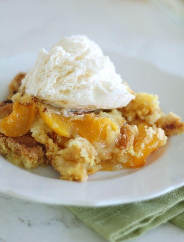 I absolutely love peach cobbler but couldn't wait until peach season to make a tasty peach dessert.