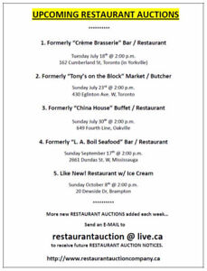 RESTAURANT AUCTION SALES want to find out about them ?