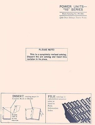 John Deere Model 115 Series Power Unit Parts Manual Catalog Jd 666