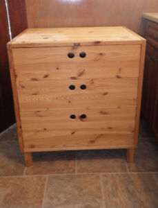 Solid Pine Ikea Dresser or Kitchen Island 3 Drawers
