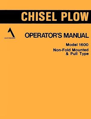 Allis Chalmers 1600 Chisel Plow Operators Manual