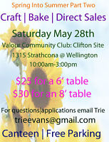 CRAFT, BAKE and DIRECT SALES May 28  LOOKING FOR VENDORS