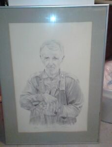 Robert Aucoin 1983 pencil etching of Uncle Ross Kingston Kingston Area image 1