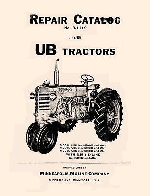Minneapolis Moline Ub Ube Ubu Ubn Parts Manual Catalog