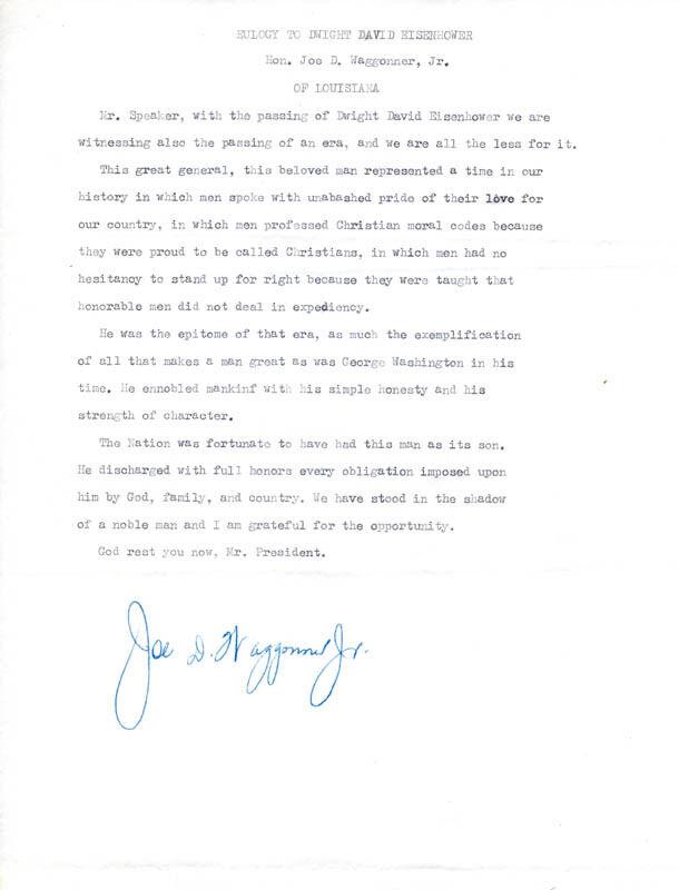 JOE D. WAGGONNER, JR. - SPEECH SIGNED