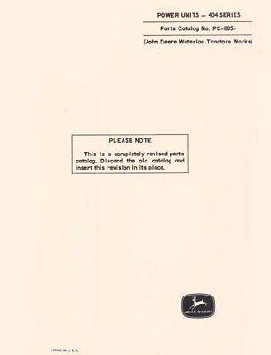 John Deere Model 404 Series Power Unit Parts Manual Catalog Jd 885