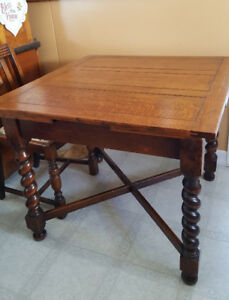 Antique Oak Pub Table with 4 Chairs