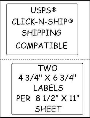 500 Sticky Labels 2 Per Sheet For Usps® Click-n-ship Shipping