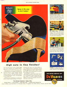 1953 authentic magazine ad for DeVilbiss Spraying Equipment