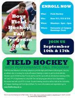 Fall BOYS Field Hockey Program Sept 10th Start
