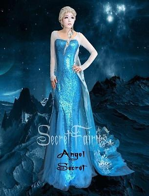 Frozen Dresses For Adults (F757 women Frozen Snow Queen Elsa Cosplay Costume Deluxe Dress tailor made)