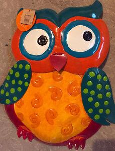 Decorative colorful metal art owl