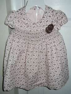 1st Impressions Pink & Brown Cord Fall Dress + Bloomers (6-9M)