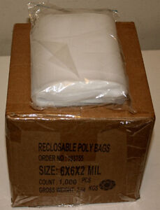 6 x 6, 2 Mil Clear Reclosable Bags