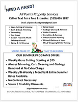 Landscaping, lawn cutting, lawn care.