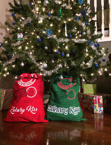 Personalized Santa Sacks - Red or Green - No more gift wrapping! Windsor Region Ontario image 1