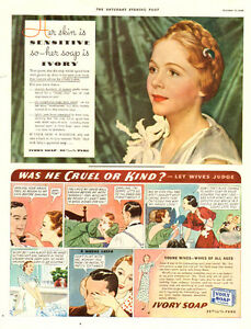 1936 large vintage color magazine ad for Ivory Soap