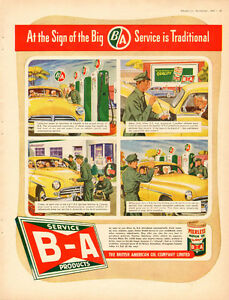 Large Vintage 1948 full-page vintage ad for B/A Oil