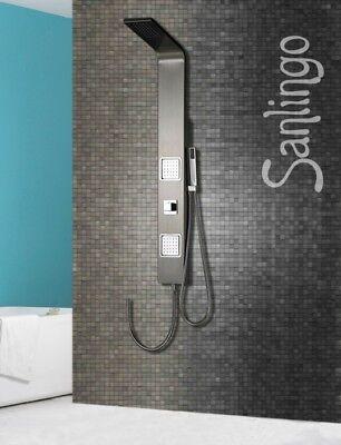 Duschpaneel Duschsäule Regendusche Edelstahl gebürstet Massagedüsen von Sanlingo