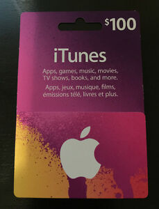 NEW UNOPENED $100 APPLE ITUNE GIFT CARD WITH RECEIPT