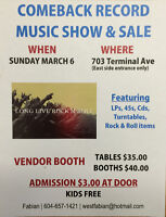 Vendors Wanted Huge Record Music Show & Sale March 6 2016