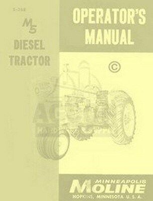 Minneapolis Moline M5 Diesel 5 Operators Owners Manual