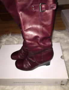 Burgundy Leather Boots