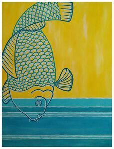 """Yellow/Teal Fish"" for sale by local artist."