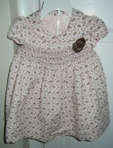 1st Impressions Pink & Brown Cord Dress + Bloomers (6-9M)