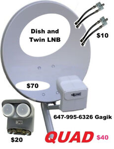 Bell satellite TV Dishes  Twin Quad  Receivers
