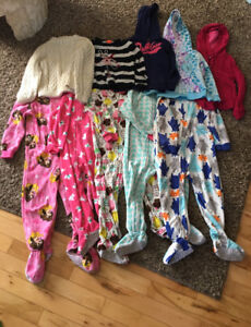 Girl's Sweaters and Footie PJs Size 4T